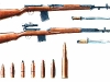 Автоматическая винтовка Симонова и самозарядная винтовка Токарева (внизу)