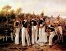 Унтер-офицеры лейб-гвардии Финляндского полка на фоне лагеря. 1849 год