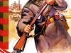 Советская агитационная открытка. Военный вооружен СКС-45